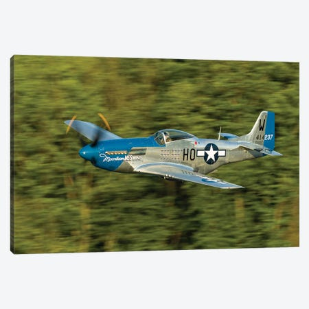 A P-51 Mustang Flies Along The Mississippi At Dubuque, Iowa Canvas Print #TRK434} by Rob Edgcumbe Art Print