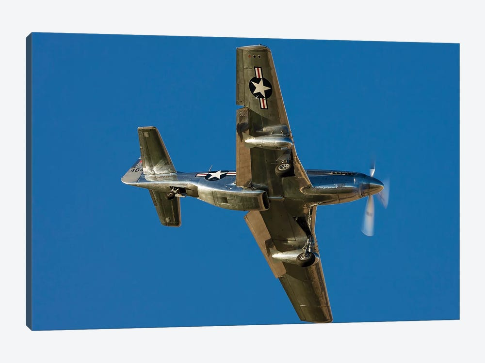 A P-51 Mustang Flies By At Nellis Air Force Base, Nevada by Rob Edgcumbe 1-piece Canvas Art