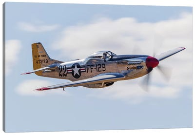 A P-51 Mustang Flies By At Vacaville, California Canvas Art Print
