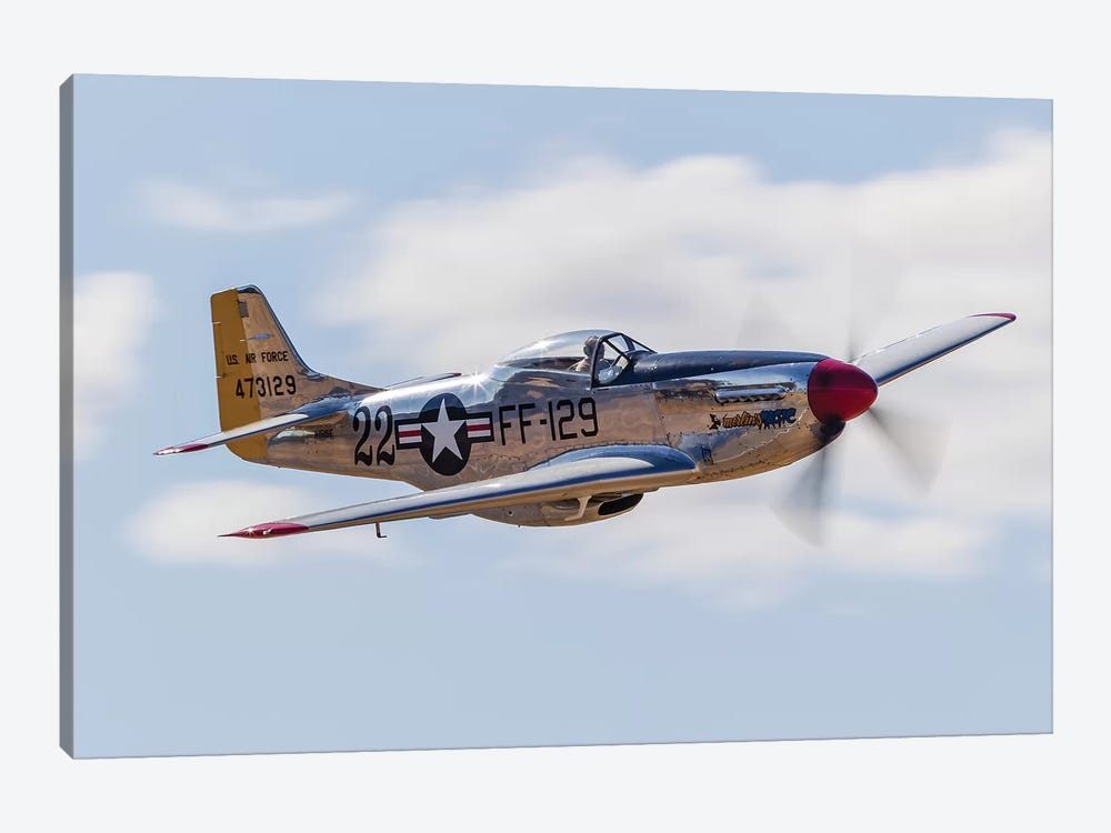 A P-51 Mustang Flies By At Vacaville, California by Rob Edgcumbe 1-piece Canvas Print