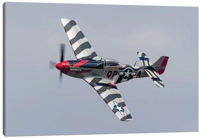 A P-51 Mustang Flies By At Willow Run, Michigan Canvas Art Print