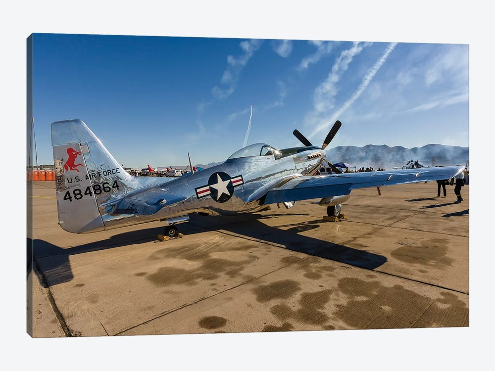 A P-51 Mustang Parked On The Ramp At Nellis Air Force Base, Nevada by Rob Edgcumbe 1-piece Canvas Print