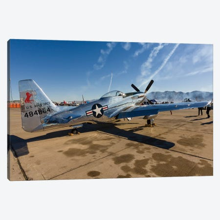 A P-51 Mustang Parked On The Ramp At Nellis Air Force Base, Nevada Canvas Print #TRK438} by Rob Edgcumbe Canvas Wall Art