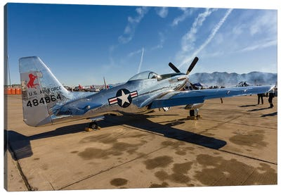 A P-51 Mustang Parked On The Ramp At Nellis Air Force Base, Nevada Canvas Art Print