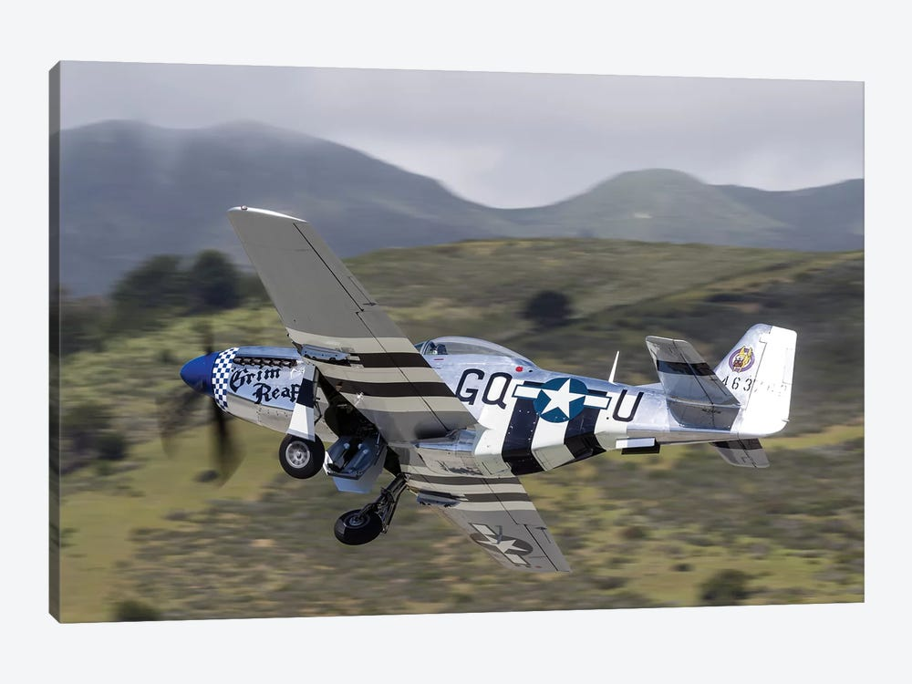 A P-51 Mustang Takes Off From Half Moon Bay, California by Rob Edgcumbe 1-piece Canvas Wall Art