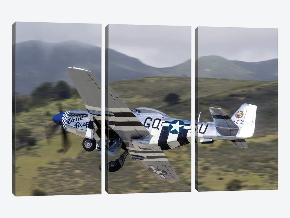 A P-51 Mustang Takes Off From Half Moon Bay, California by Rob Edgcumbe 3-piece Canvas Art