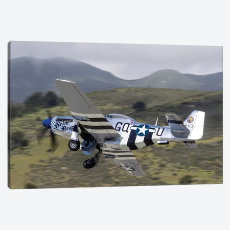 A P-51 Mustang Takes Off From Half Moon Bay, California Canvas Print #TRK439} by Rob Edgcumbe Canvas Artwork