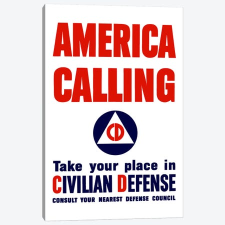Take Your Place In Civilian Defense Vintage Poster Canvas Print #TRK43} by John Parrot Canvas Wall Art