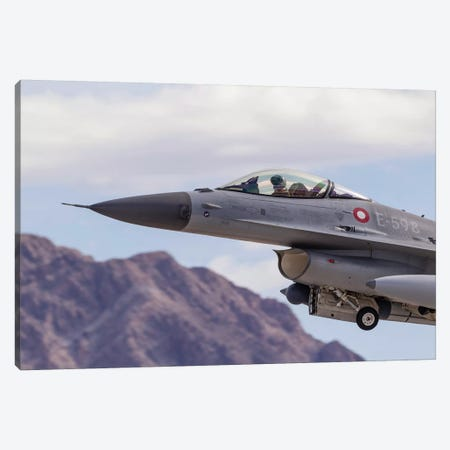 A Royal Danish Air Force F-16AM Fighting Falcon Taking Off Canvas Print #TRK440} by Rob Edgcumbe Art Print