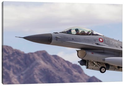 A Royal Danish Air Force F-16AM Fighting Falcon Taking Off Canvas Art Print