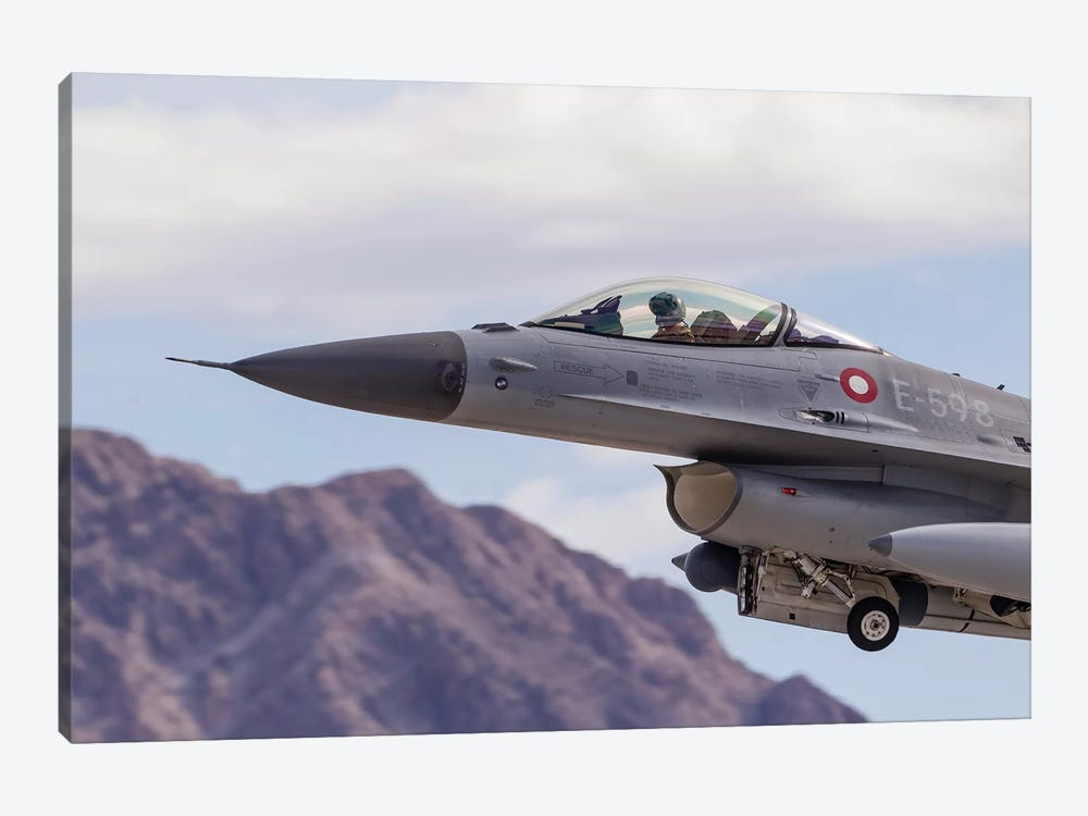 A Royal Danish Air Force F-16AM Fighting Falcon Taking Off by Rob Edgcumbe 1-piece Canvas Wall Art