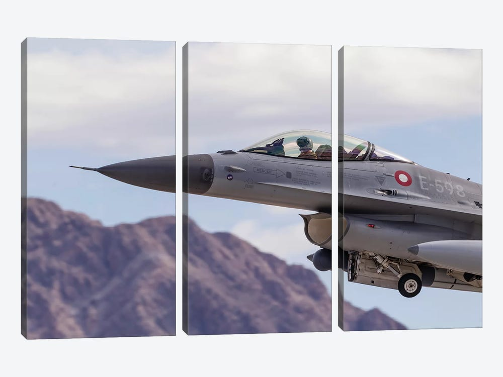 A Royal Danish Air Force F-16AM Fighting Falcon Taking Off by Rob Edgcumbe 3-piece Canvas Wall Art