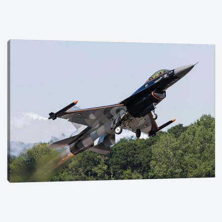 A Royal Netherlands Air Force F-16AM Takes Off At RAF Fairford, England Canvas Print #TRK441} by Rob Edgcumbe Art Print
