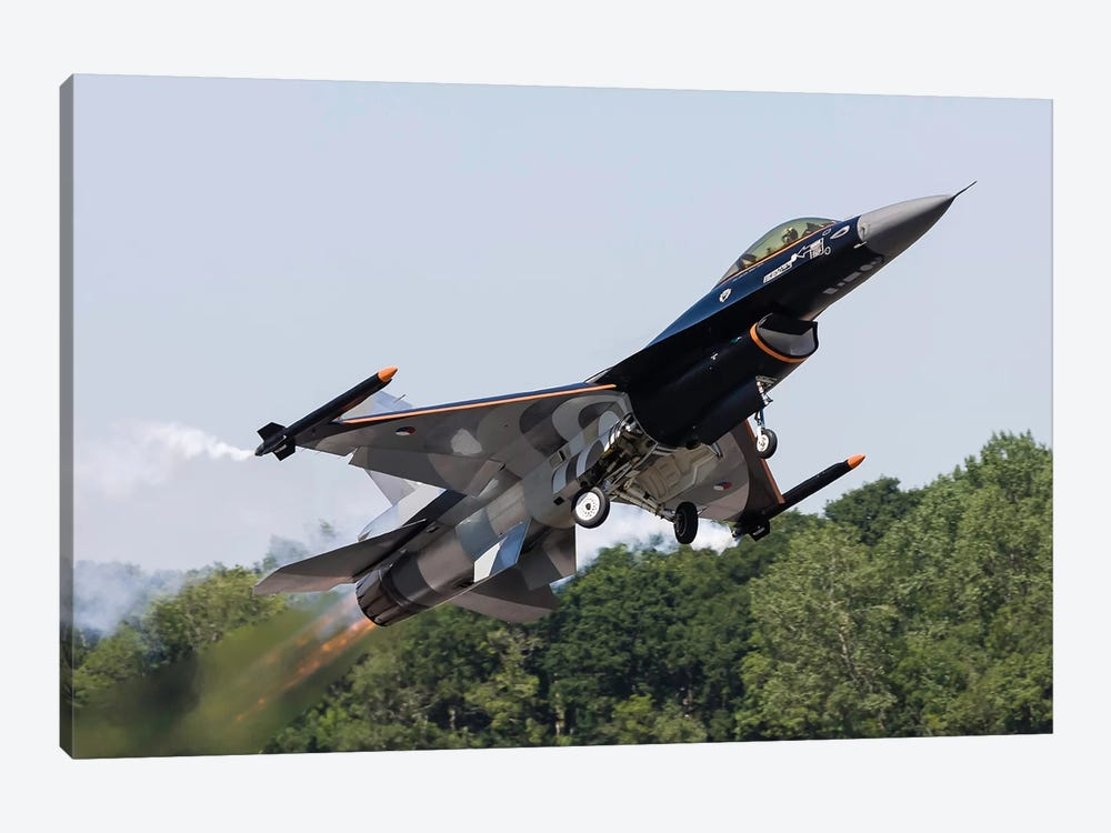 A Royal Netherlands Air Force F-16AM Takes Off At RAF Fairford, England by Rob Edgcumbe 1-piece Canvas Print