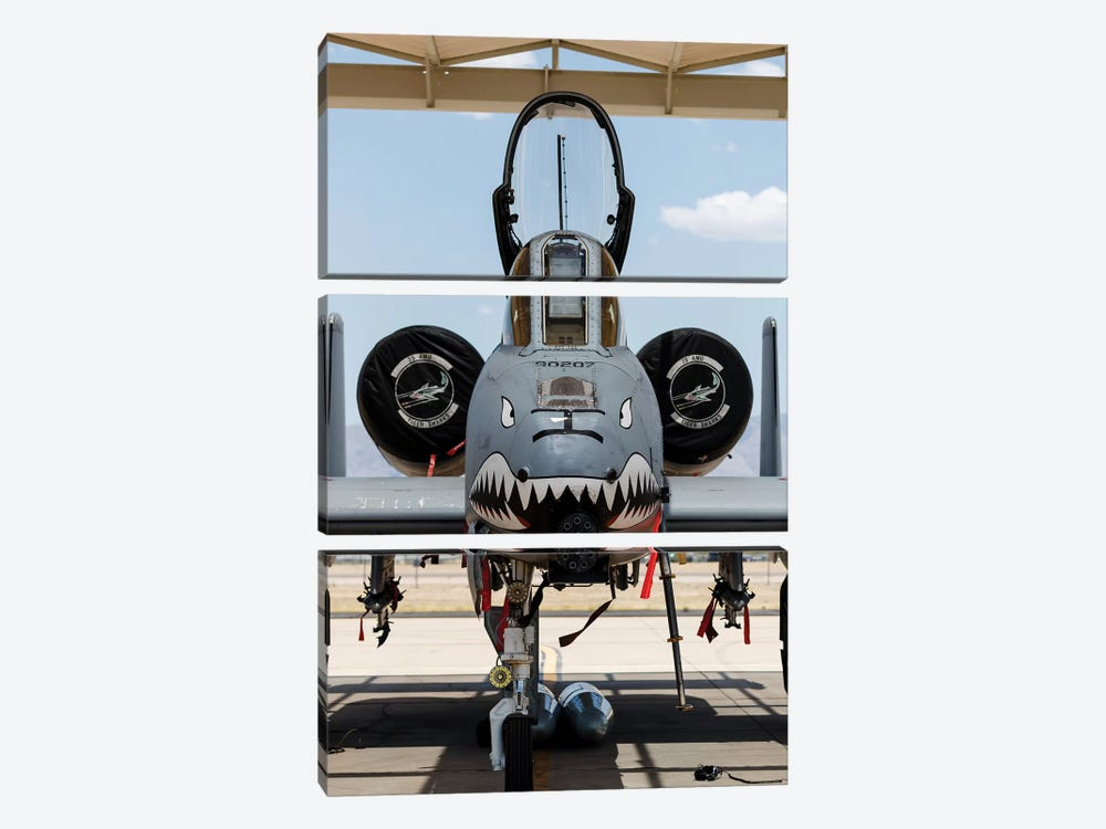 A US Air Force A-10 Thunderbolt II Parked At Davis Monthan Air Force Base by Rob Edgcumbe 3-piece Canvas Wall Art