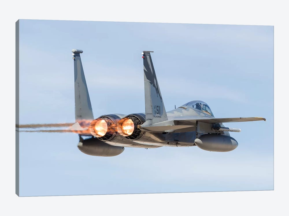 A US Air Force F-15C Eagle Taking Off From Nellis Air Force Base, Nevada I by Rob Edgcumbe 1-piece Art Print