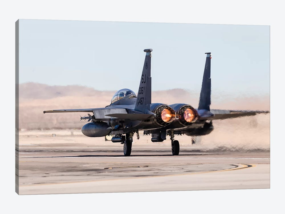 A US Air Force F-15E Strike Eagle Takes Off In Full Afterburner by Rob Edgcumbe 1-piece Canvas Print