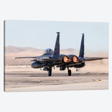 A US Air Force F-15E Strike Eagle Takes Off In Full Afterburner Canvas Print #TRK445} by Rob Edgcumbe Canvas Wall Art