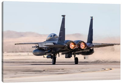 A US Air Force F-15E Strike Eagle Takes Off In Full Afterburner Canvas Art Print