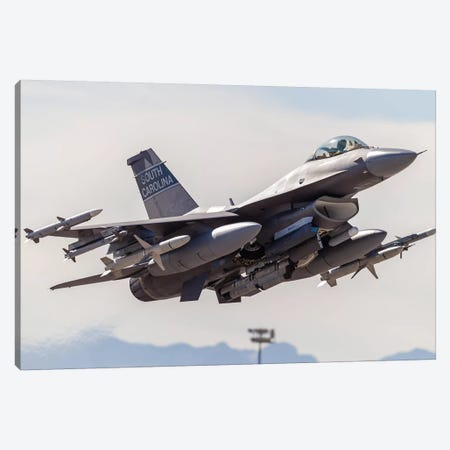 A US Air Force F-16C Fighting Falcon Takes Off From Nellis Air Force Base, Nevada Canvas Print #TRK446} by Rob Edgcumbe Canvas Wall Art