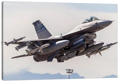 A US Air Force F-16C Fighting Falcon Takes Off From Nellis Air Force Base, Nevada Canvas Art Print