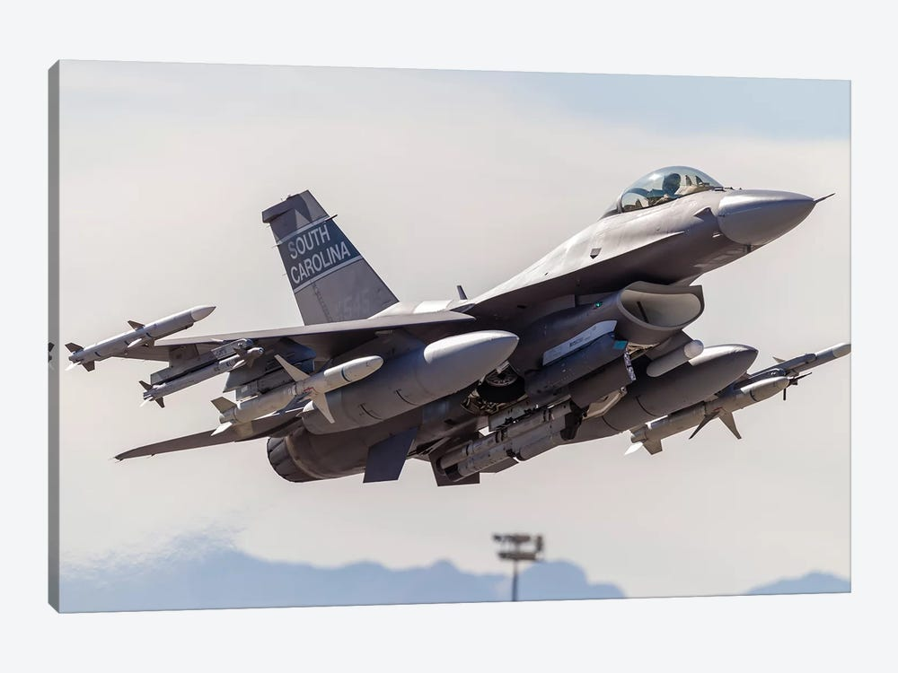 A US Air Force F-16C Fighting Falcon Takes Off From Nellis Air Force Base, Nevada by Rob Edgcumbe 1-piece Canvas Art