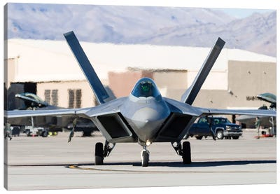 A US Air Force F-22A Raptor Taxiing At Nellis Air Force Base, Nevada Canvas Art Print