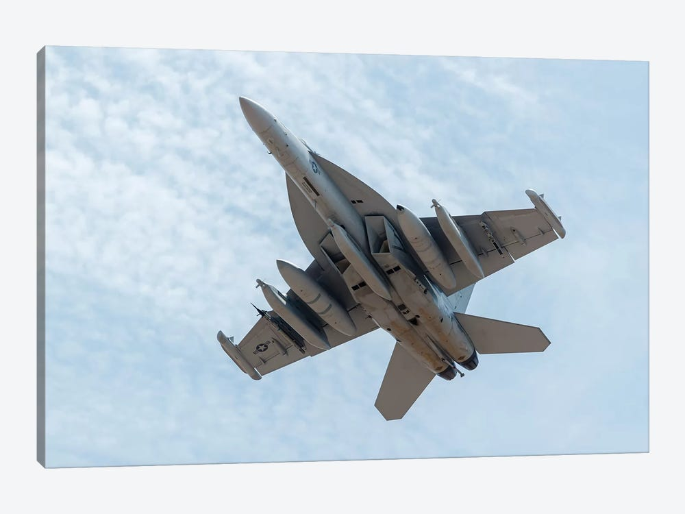 A US Navy E/A-18G Growler Takes Off From Nellis Air Force Base, Nevada by Rob Edgcumbe 1-piece Canvas Art