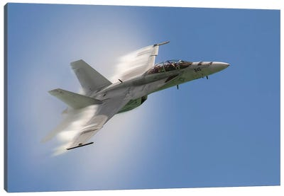 A US Navy F/A-18F Performs A Fast Pass Over Chicago, Illinois Canvas Art Print