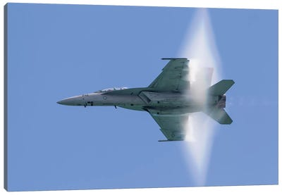 A US Navy F/A-18F Super Hornet Flies By At High Transonic Speed Canvas Art Print