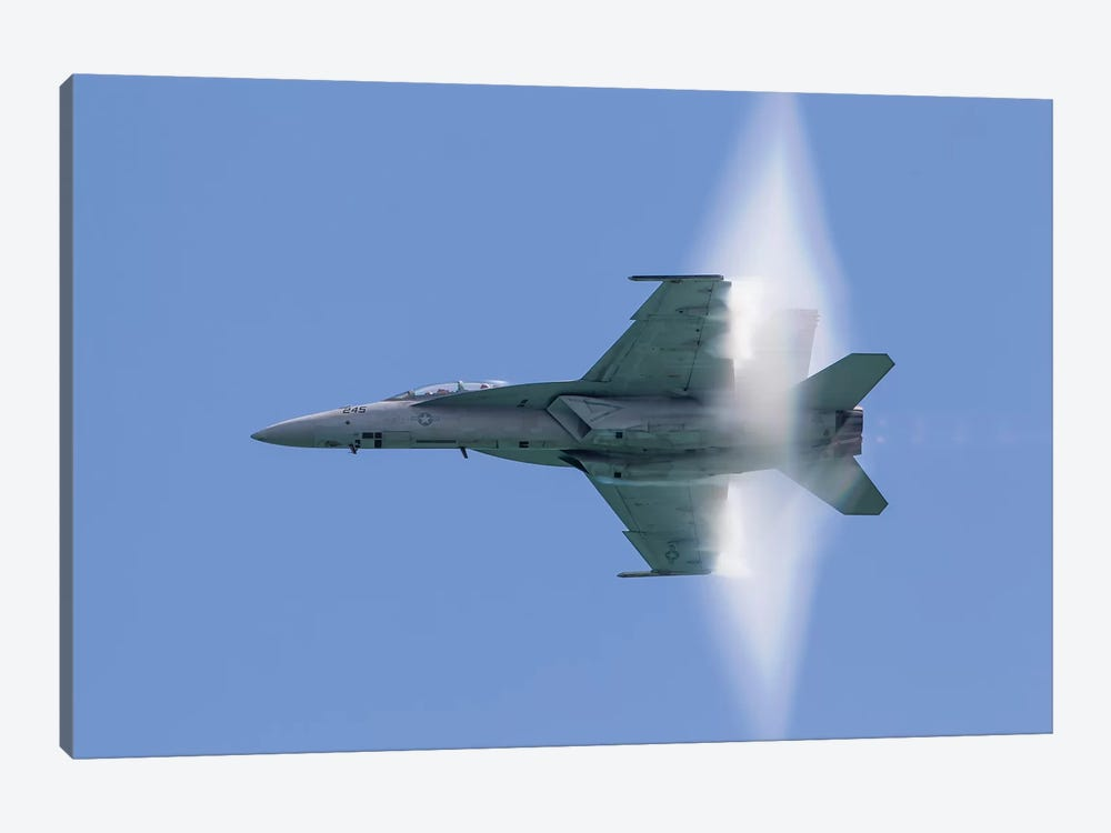 A US Navy F/A-18F Super Hornet Flies By At High Transonic Speed by Rob Edgcumbe 1-piece Art Print