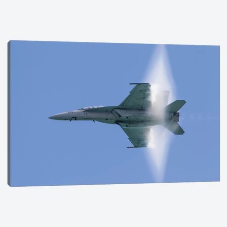 A US Navy F/A-18F Super Hornet Flies By At High Transonic Speed Canvas Print #TRK450} by Rob Edgcumbe Canvas Artwork