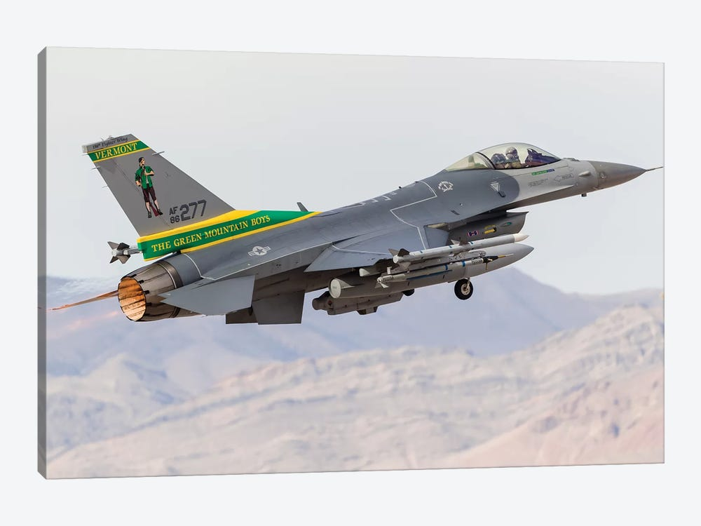 A Vermont Air National Guard F-16C Fighting Falcon Taking Off by Rob Edgcumbe 1-piece Art Print