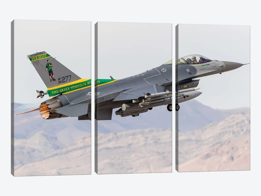A Vermont Air National Guard F-16C Fighting Falcon Taking Off by Rob Edgcumbe 3-piece Canvas Art Print