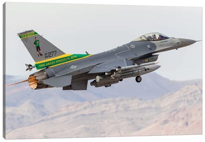 A Vermont Air National Guard F-16C Fighting Falcon Taking Off Canvas Art Print