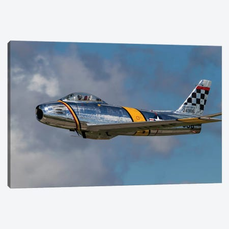 A Vintage F-86 Sabre Of The Warbird Heritage Foundation Canvas Print #TRK453} by Rob Edgcumbe Canvas Artwork