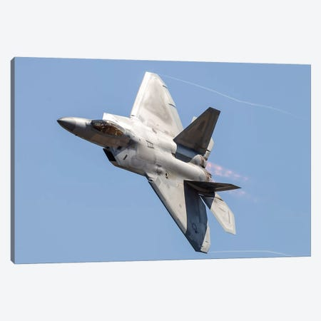 An F-22A Raptor Of The US Air Force Turns At High Speed I Canvas Print #TRK458} by Rob Edgcumbe Canvas Art