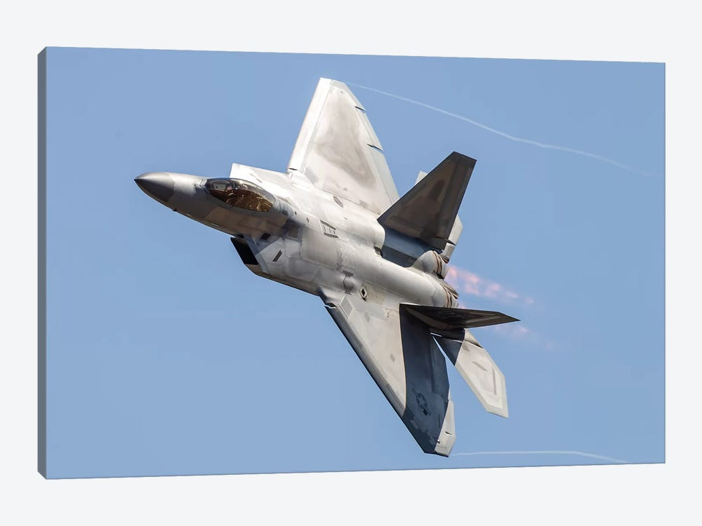 An F-22A Raptor Of The US Air Force Turns At High Speed I by Rob Edgcumbe 1-piece Canvas Print