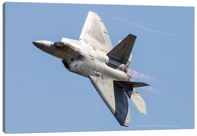 An F-22A Raptor Of The US Air Force Turns At High Speed I Canvas Art Print