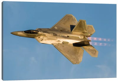 An F-22A Raptor Of The US Air Force Turns At High Speed II Canvas Art Print