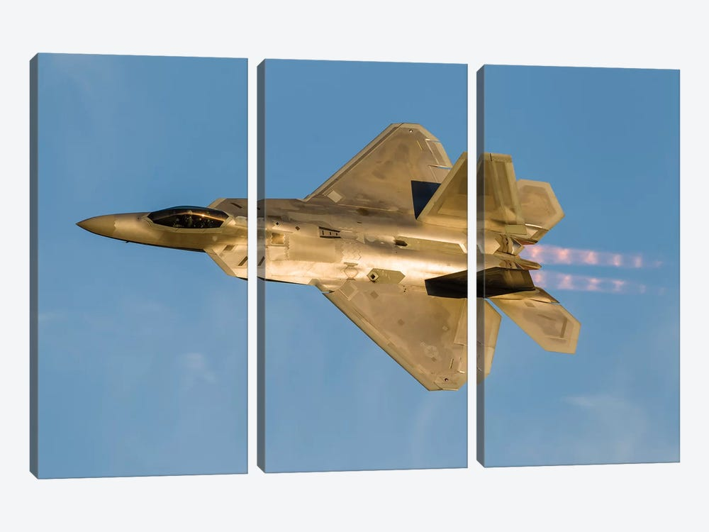 An F-22A Raptor Of The US Air Force Turns At High Speed II by Rob Edgcumbe 3-piece Canvas Wall Art