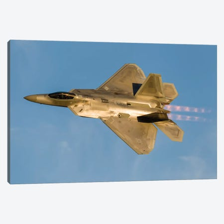 An F-22A Raptor Of The US Air Force Turns At High Speed II Canvas Print #TRK459} by Rob Edgcumbe Canvas Wall Art
