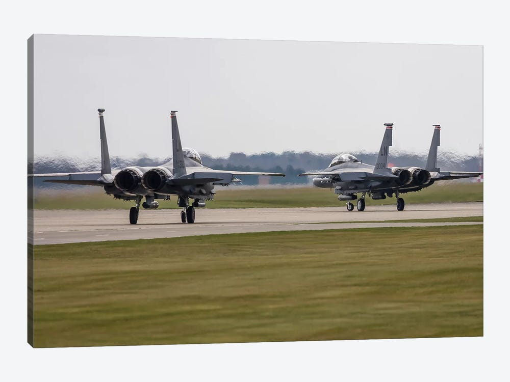 F-15E Strike Eagles Of The US Air Force Line Up For Takeoff by Rob Edgcumbe 1-piece Art Print