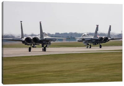F-15E Strike Eagles Of The US Air Force Line Up For Takeoff Canvas Art Print