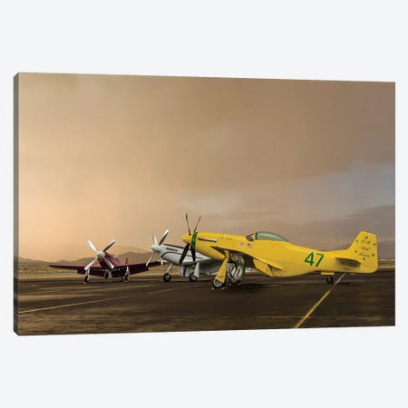 Three P-51 Mustangs Parked On The Ramp Ahead Of A Storm Canvas Print #TRK465} by Rob Edgcumbe Canvas Art