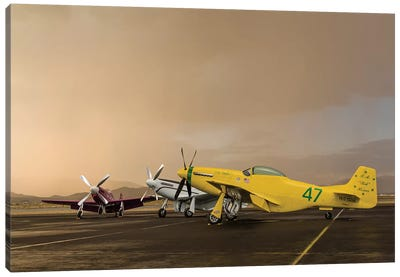 Three P-51 Mustangs Parked On The Ramp Ahead Of A Storm Canvas Art Print