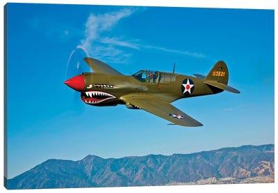 A Curtiss P-40E Warhawk In Flight Near Chino, California II Canvas Art Print