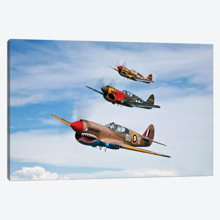 A Group Of P-40 Warhawks Fly In Formation Near Nampa, Idaho Canvas Print #TRK469} by Scott Germain Canvas Art Print