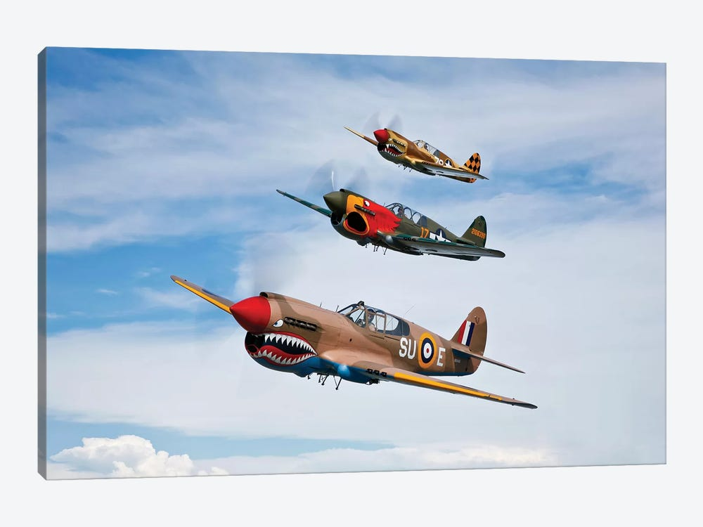 A Group Of P-40 Warhawks Fly In Formation Near Nampa, Idaho by Scott Germain 1-piece Art Print