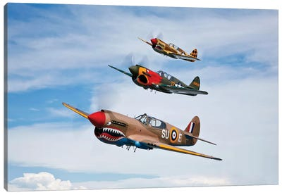 A Group Of P-40 Warhawks Fly In Formation Near Nampa, Idaho Canvas Art Print